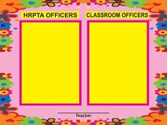 HRPTA Officers and Classroom Officers Poster suitable to be printed in tarpaulin School Welcome Bulletin Boards, Elementary Bulletin Boards, Bulletin Board Design, Classroom Welcome, Classroom Rules Poster, Teacher Bulletin Boards, Classroom Charts, Classroom Signs, Classroom Labels