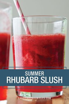 Summer Rhubarb Slush - - Summer Rhubarb Slush is the perfect summer drink. It will quench your thirst and satisfy your tastebuds. Tart rhubarb is mellowed out with a bit of sugar and raspberry jello. Up the ante and add a shot of gin or vodka. Slush Recipes, Summer Drink Recipes, Summer Drinks, Cocktail Recipes, Cocktails, Frozen Drink Recipes, Summertime Drinks, Milkshake Recipes, Punch Recipes