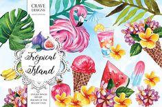 Summer Clip Art Watercolor Tropical Illustrations Tropical