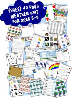 {FREE} 40 page weather unit for kids 3-9 years old from Living Life Intentionally Blog    **I used some of these pages, but I don't agree that they are good for up to age 9. I would say ages 3-7**