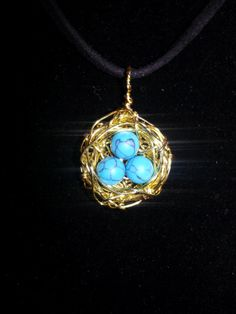 Turquoise and Yellow Gold Bird's nest pendant by 4theHartnSoul, $23.00
