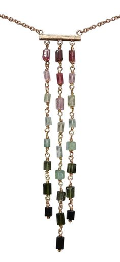 Whitney Robinson hits another one out of the park with this bead-wrapped tourmaline waterfall necklace. Rose gold and yellow gold are artfully employed to compliment each individual bead. Compliments, Art Nouveau, Rose Gold, Jewels, Beads, Metal, Waterfall, Park, Yellow