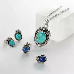 Bling Jewelry Flower Leaf Oval Turquoise Pendant 925 Silver Pendant Necklace