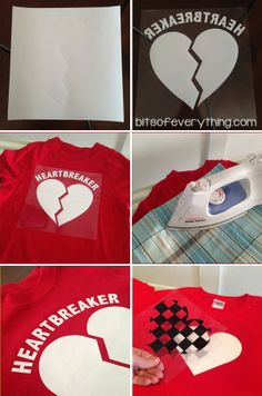 Awesome. Do it yourself Valentine blog post with 6 different valentine t-shirt heat transfer designs. I love the mustache heart. DIY: Valentine T-shirts blog.bitsofeverything.com