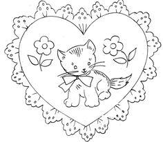 Vintage Embroidery transfer repo 2000 Valentine Heart Cupid Nosegay Love Birds