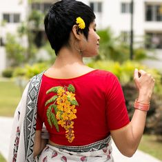 Red cotton blouse with Amaltaash - Blouses - Sarees Saree Blouse Neck Designs, Fancy Blouse Designs, Kurta Designs, Blouse Patterns, Embroidery Fashion, Embroidery Saree, Embroidery Stitches, Hand Embroidery, Machine Embroidery