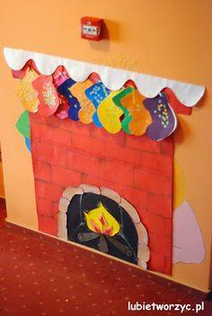 Świąteczny kominek z papieru #kominek #swieta #bozenarodzenie #dekoracja #chimney #christmas #stockings #holidays #kindergarten #przedszkole #lubietworzyc