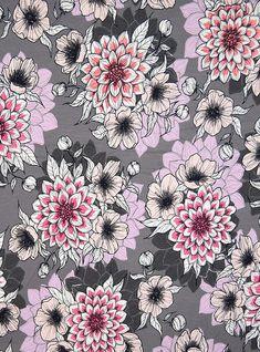 "Finnish design jersey fabric ""Dahlia Dusk"" by Nora Bisi  - Mieli Design.  Produced by Kangaskapina.fi. Dahlia, Dusk, Fabric Design, Artist, Dahlias, Artists"