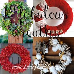 I love a great wreath. It's a fabulous way to dress up your front door…a mirror in your house…really anywhere that you can hang!! Jillian here from Her Split Ends with a round up …