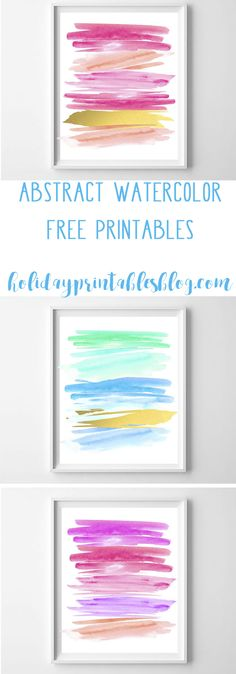Free abstract watercolor printable art! Download and print for DIY wall art that is modern and fun. Available in pinks/gold and blues/green/gold.