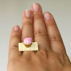Kawaii Miniature Food Rings - Pink Cat Shaped Cupcake on White Chocolate