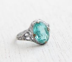 Antique Filigree Aquamarine Blue Glass Stone by MaejeanVintage, $52.00