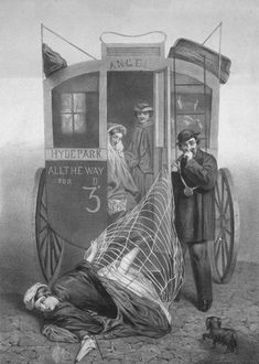 The Perils of Wearing Crinolines on Public Transportation, 1850s