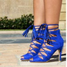 """HP Nine West lace up heels Wardrobe Refresh HPNWT. These are a really pretty royal blue color, with lace up detail on the front and zipper closure at the heel. Heel height 3 3/4"""". *similar to the cover photo. Pics 2,3,4 are my actual heels. Price is firm unless bundled Nine West Shoes Heels"""