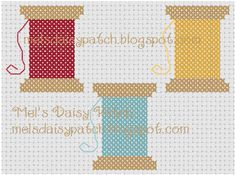 Mel's Daisy Patch Crochet and Crafts  Spools Of Thread Counted Cross Stitch Pattern