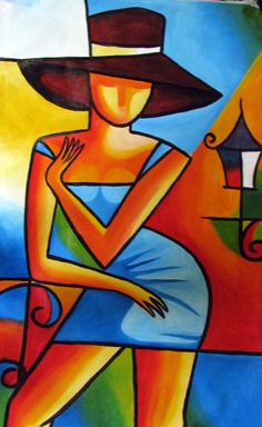femme sexy tenue de ville avec chapeau et mini jupe  style picasso dans les tons de brique , jaune