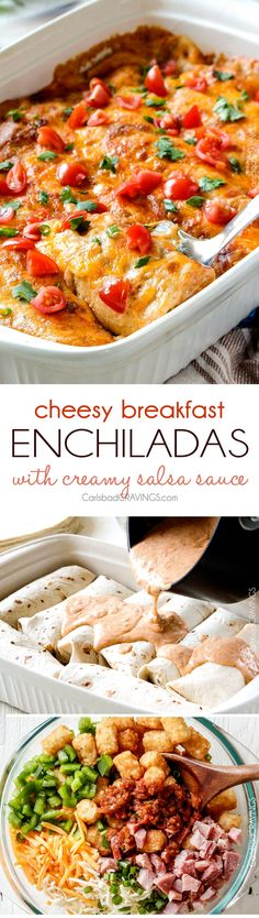 Easy, hearty Breakfast Enchiladas stuffed with your favorite breakfast ingredients then smothered with intoxicatingly delicious Creamy Salsa Sauce! These enchiladas are totally customizable, perfect for your leftover holiday ham AND you can assemble the night before and bake the next day!