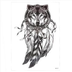 Waterproof Temporary Tattoo Stickers large size feather dreamcatcher wolf tatoo flash fake tattoo for men women Wolf Tattoos, Life Tattoos, Black Tattoos, Maori Tattoos, Tribal Tattoos, Wolf Tattoo Design, Tattoo Designs, Wolf Design, Indian Tattoo Design
