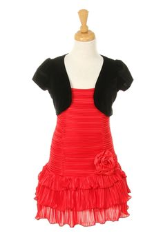 red kids dresses for 9 year olds | red dress with black bolero jacket
