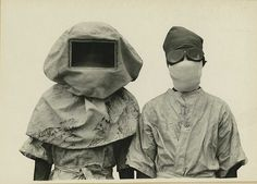 Masks worn during experiments with Plague. Philippines, probably around 1912