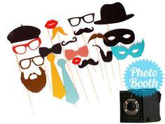 Hochzeitsdeko - Photo Booth ♥ 20 Foto Accessoires Hochzeit Party - ein Designerstück von frollein-feierlich bei DaWanda