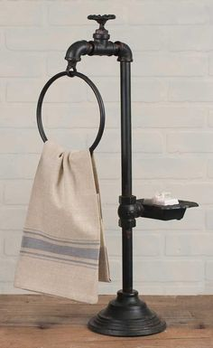 Tall RUSTIC Iron Spigot Soap and Towel Holder Pedestal Farmhouse Country Decor  #Unbranded