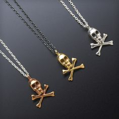 Tina Lilienthal Skull and Crossbones Necklace £66 http://www.cottonandgems.com/jewellery/necklaces/tina-lilienthal-skull-and-crossbones-necklace