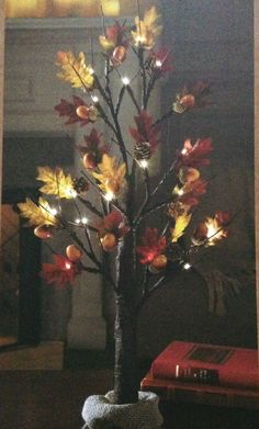 2' Autumn Harvest Tree W/LED Timer Lights/ Fall Leaves/ Indoor/Outdoor Decor #Unbranded