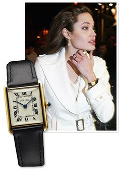 Angelina Jolie has worn both the Cartier Tank on a leather strap and the gold Tank Française.
