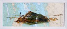"""Acrylique sur carte marine de la région de Carantec, """"l'île Louet"""" #bretagne #acrylique #ile louet"""
