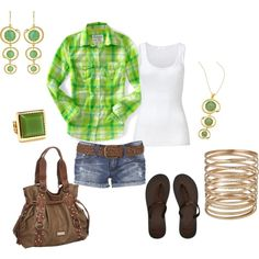 Summer outfit created by kaybraden on Polyvore.  Love the actual clothes and shoes.  Everything else seems a little much.