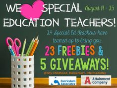 We love special education teachers! Come and grab 23 freebies and enter to win 5 awesome giveaways! Life Skills Classroom, Autism Classroom, Classroom Activities, Teacher Organization, Teacher Hacks, Teacher Gifts, Special Ed Teacher, First Year Teaching, Teaching Special Education