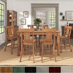 Inspire Q Classic Elena Oak Extendable Counter Ight Dining Set with Panel Back Chairs by Antique White Antique, Oak Finish, Wood Finish 6 Black Dining Room Furniture, Dining Room Bar, Bar Furniture, Furniture Deals, Outdoor Furniture Sets, Dining Table, Pub Table Sets, Table And Chair Sets, Pub Tables