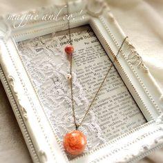 ハンドメイドマーケット minne(ミンネ)| 【送料無料】botanical necklace fair~定番ピンクの千日紅ネックレス~