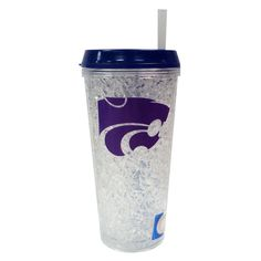 Crystal Freezer Straw Tumbler With Lid Kansas State Wildcats