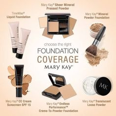 Which foundation is best for you? Mary Kay offers terrific choices. Each can stand alone or blend with others, depending on the desired coverage.