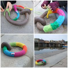 This might be the coolest knit-bomb I've ever seen. (Knitting Graffiti by Masquerade: Stockholm, Sweden.)