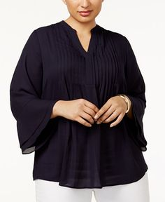 bb2095717fd0a Charter Club Plus Size Pleated Bell-Sleeve Top