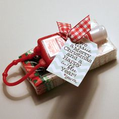 we tissue a Merry Christmas from Domesticated Lady.  This would be cute for my husband, an allergist, to have in a basket at check-ouit for his patients during the holidays!   :)