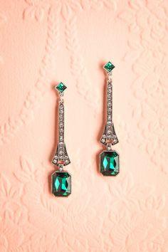Dioscorea - Silver pendant earrings style 1920s