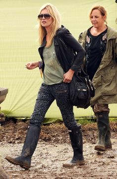 cold festival outfit printed pants + gumboots