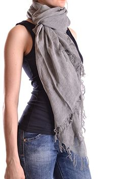 Dondup Women's Mcbi100008o Grey Cotton Scarf