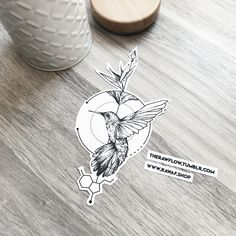 Dotwork colibri bird serotonin tattoo - commission for Dora M.