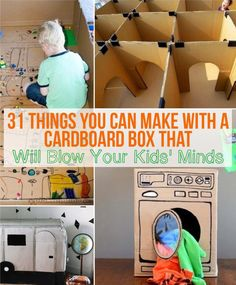31 Things You Can Make With A Cardboard Box That Will Blow Your Kids' Minds- children loves playing with big cardboard box. Using a big cardboard box from purchased furniture or from the grocery store can easily turn it into a variety of exploration.