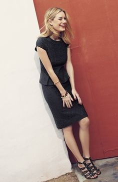 Wear to work: Lace peplum top, pencil skirt, & studded black sandals