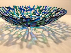 FREE SHIPPING  Blue and Green Fused Glass Coral Bowl