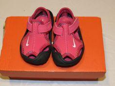 Baby Girls Nike Sunray Protect TD water beach pool shoes 2C dark pink sandals*^ #Nike #WaterShoes