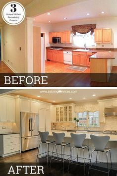 Kitchen Remodel - Planning a kitchen renovation? Explore our favorite kitchen decor ideas and get inspiration to create the kitchen of your dreams Home Remodeling Contractors, Farmhouse Kitchen Cabinets, Kitchen Backslash, Home Additions, Cuisines Design, Cool Kitchens, Custom Kitchens, Modern Kitchens, Home Renovation