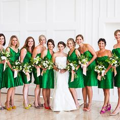 This bride mixed and matched bridesmaid dress styles to find a silhouette that looked good on each of her girls! Bridesmaid dresses by Anna Elyse Bridesmaids & Annie Girl Couture Creations Photos by Kate Webber Photography Emerald Wedding Colors, Emerald Green Bridesmaid Dresses, Emerald Green Weddings, Beach Bridesmaid Dresses, Bridesmaid Flowers, Wedding Bridesmaids, Green Bridesmaids, Bride Dresses, Kelly Green Weddings