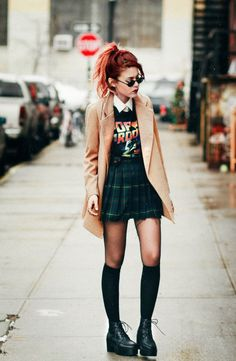 tshirt worn with plaid skirt - Google Search
